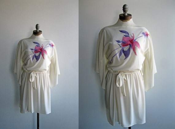 1970's/1980's Women's Cream Sheer Kimono Sleeve Mini Dress with Pink Handpainted Floral Bust