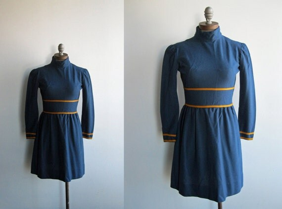 Late 1960's/ Early 1970's Long Sleeved Turtleneck Navy and Orange Striped Empire Waist Mini Dress