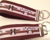 Doxie Ribbon KEY FOB - Key Chain Wristlet.  Fundraiser for DREAM Dachshund Rescue