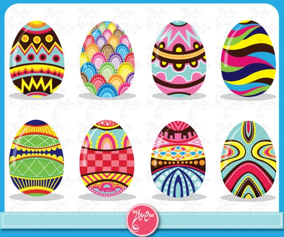Items similar to Easter Clip Art colorful Easter eggs pattern