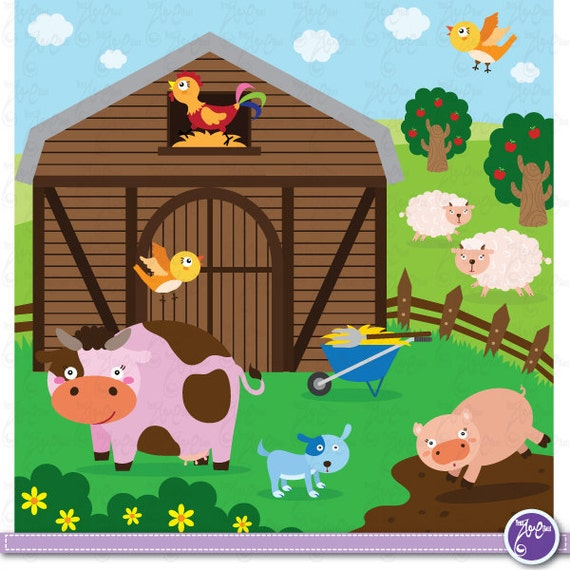 Farm Animals Clip Art, Cute animals, barnyard animals,cow ...