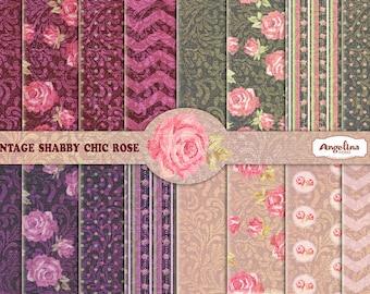 Shabby Chic Vintage Damask Rose Digital Scrapbook Paper pack. 16 Digital papers