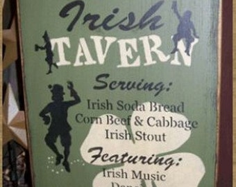 OLDE IRISH TAVERN primitive sign