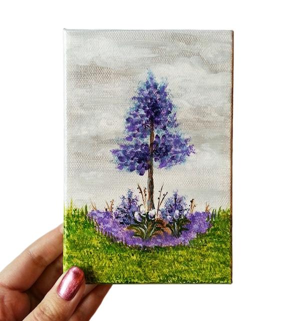 Sale Acrylic Painting Mini Canvas Purple 4 X 6 Flowers