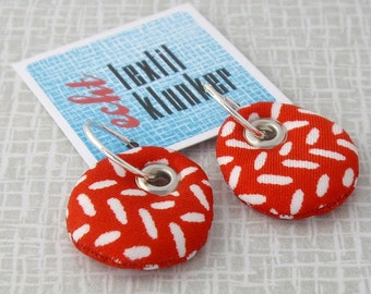 red and white fabric earrings