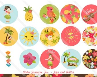 Aloha Sunshine Two M2MG 1 Inch Circles Collage Sheet for Bottle Caps, Hair Bows, Scrapbooks, Crafts, Jewelry & More