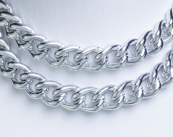 3.2ft Chunky Silver Chain, Twisted Cable Chain, 17x12mm, Aluminum Chain, Open Link Chain, 2583.0F