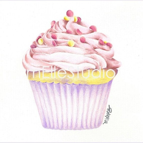 Baby Girl Nursery Art // Cupcake Art Print // Girl's Bedroom Art // Cupcake Drawing // 8x8 Art Print