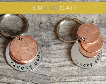 Lucky Dad / Lucky Penny Key Chain / Custom Keychain / Father's Day