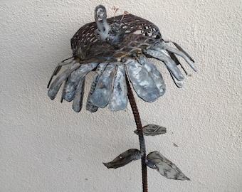metal sculpture of sunflower