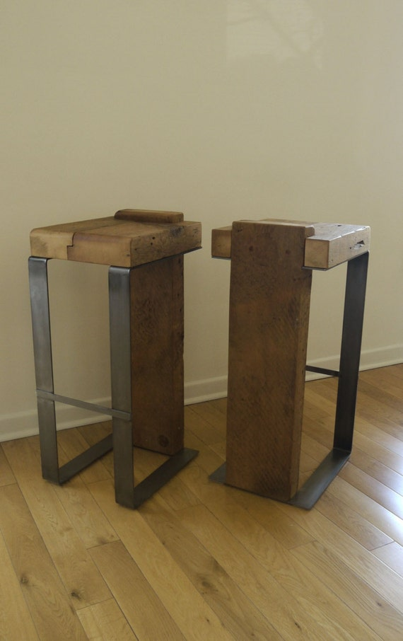reclaimed wood and metal handmade bar stool by ticinodesign. Black Bedroom Furniture Sets. Home Design Ideas