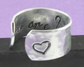 Vous êtes proches - coeur - Bague réglable - cadeau de la Saint-Valentin - amour bague - je t'aime - bague en argent - bague ajustable