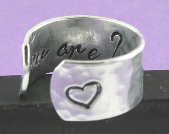 You Are Loved Ring - Heart Ring - Adjustable Ring - Valentine's Day Gift - Love Ring - I Love You Ring - Silver Ring - Adjustable Ring