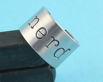 Nerd Ring - Adjustable Ring - Silver Ring - Geek Gift - Nerd Gift - Geek Ring - Ring for a Geek - Ring For A Nerd - Gift Under 20