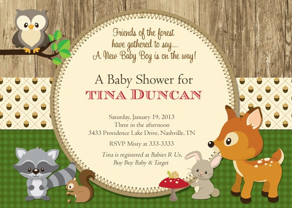 woodland baby shower invitations forest animals shower invite gender