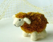 Needle felted golden sheep, Felted animal, Natural soft children toy