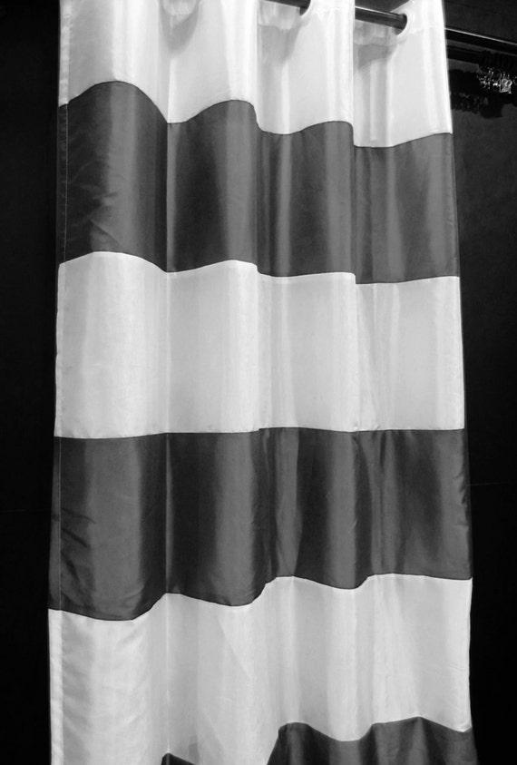 "CJ37-65 (2 Panels) x Each 50"" width x (80"" Upto 100"" drop) White Silver Grey Taffeta Thick Stripe Pattern Custom Made Curtain"