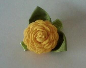 Canary Yellow Ric Rac Rose Hair Clip