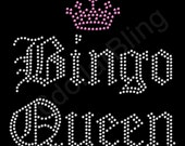 "Rhinestone Iron On Transfer ""Bingo Queen"" Crystal Bling Design"