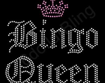 "Rhinestone Iron On Transfer ""Bingo Queen"" Crystal Bling Design"