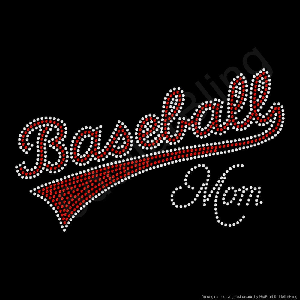 Rhinestone iron on transfer baseball mom crystal for Create your own iron on transfer for t shirt