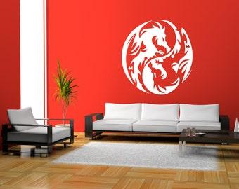 "Ornamental Dragon Circle Premium Removable Wall Art Decor Decal Vinyl Sticker Mural Fantasy Size 30"" X 30"""