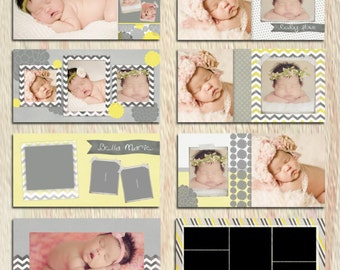 PSD 12x12 album newborn - photoshop template for professional photographers - Y803