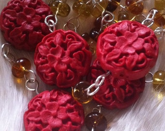 Glass Amber Ombré Beaded Necklace with Carved Red Rose Beads