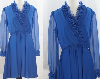 1960s Blue Ruffle V-Neck Semi-Sheer Dress XS/S