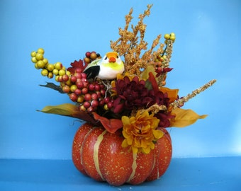 Floral Centerpiece with fall colored silkflowers and bird ooak