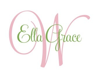 Personalized Wall Decal - Vinyl Initial And Name Elegant Script Monogram For Baby Girl Nursery Or Teen Girls Room GN020
