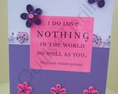 Pink & Purple Quilled I Love You Card