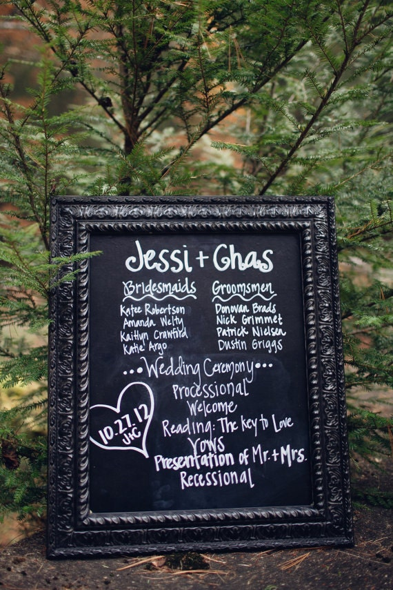 Items Similar To 18x24 Chalkboard Sign Your Wedding Program On Etsy
