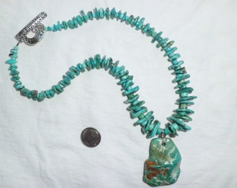 """NEW Artists Genuine Turquoise Necklace w/Pendant Graduated Wavy Disc Flat Beads Blue Green 16"""" Long Southwest Large Statement Silver Tone"""