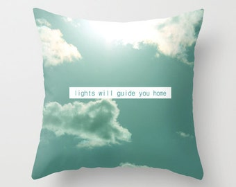 """Throw Pillow Cover - lights will guide you home 16""""x16"""" inch Photography 100% SpunPolyester sky clouds light sunlight sun blue turquoise"""