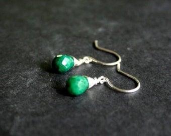 Emerald Drop Earrings in Sterling Silver Tiny Genuine Emerald Earrings - May Birthstone