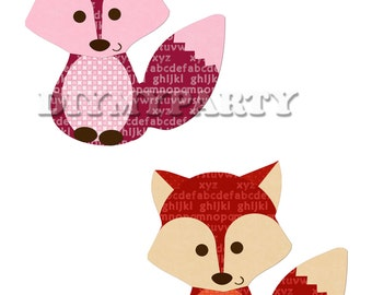 Printable party decor foxes Clip Art foxes clipart birthday decoration digital scrapbooking birthday party scrapbooking diy favor tag 329