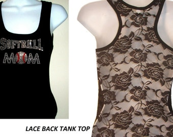 New Rhinestone SoftBall MoM  Lace Back TANKTOP Shirst Blacks Size:S, To XL   Free Shipping available in white color sport