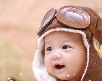 Baby Boy Toddler Aviator Hat UP movie prop pilot hat bomber hat in brown, Children's Photography Prop