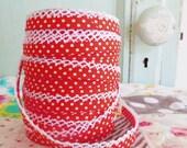 Red Polka Dot Crochet Edge Double Fold Bias Tape (No. 4)