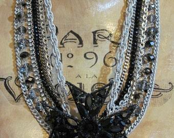 Maltese Cross  Black  Repurposed Vintage Jewellery  Statement Necklace  Multi Strand