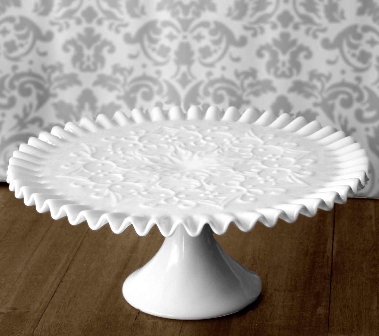 Milk Glass Cake Stand Vintage Cake Stand Cake Pedestal For