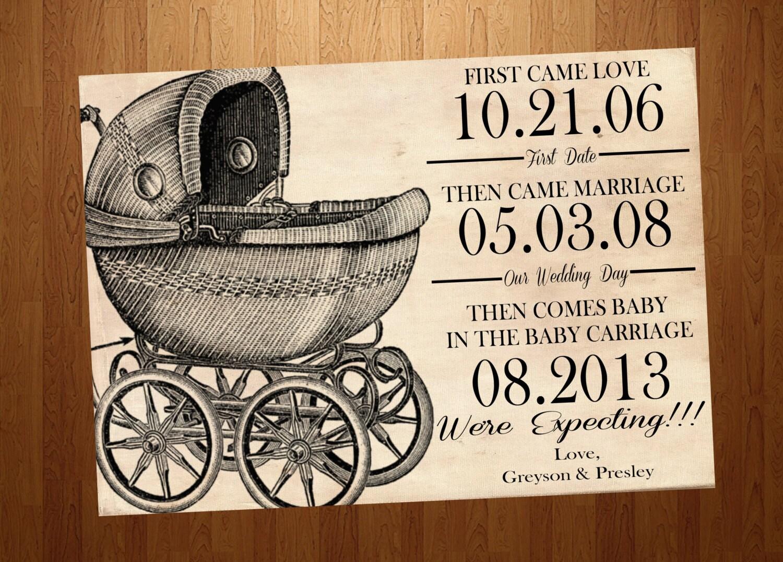 Pregnancy Announcement Card: Vintage Baby Carriage Pregnancy Announcement Card By SSDdesign