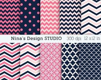 50% SALE INSTANT DOWNLOAD 10 Navy pink Digital paper pack  for Personal and Commercial use Scrapbooking