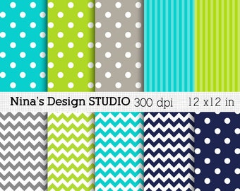 50% SALE INSTANT DOWNLOAD 10 blue green gray Digital paper pack  for Personal and Commercial use Scrapbooking