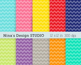 50% SALE INSTANT DOWNLOAD 10 Playful Chevron Digital paper pack  for Personal and Commercial use Scrapbooking