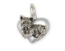 Solid Sterling Silver Yorkshire Terrier Yorkie Heart Charm Jewelry  YK26-C