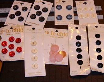 BUTTONS, Le Chic, Carded, Made in Italy, Made in Japan, Vintage, Destash