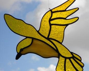 Stained Glass Suncatcher, Soaring Yellow Bird  #301