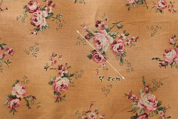 Sale victorian pink roses floral cotton fabric half yard for Victorian floral fabric